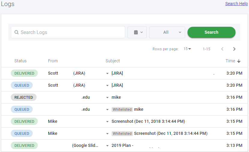 refined log search
